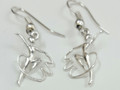 Silver Ribbon Gymnast  Drop Earrings S-2368