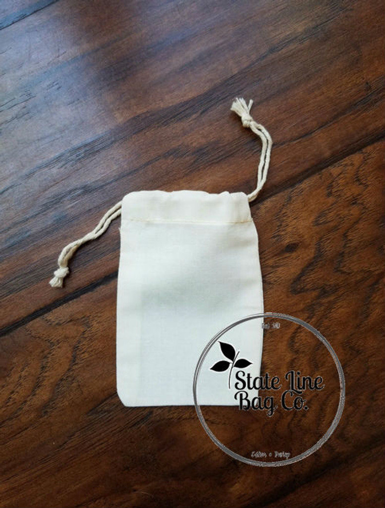 "3.25"" x 5"" Premium Double - Drawstring Cotton Muslin Bag"