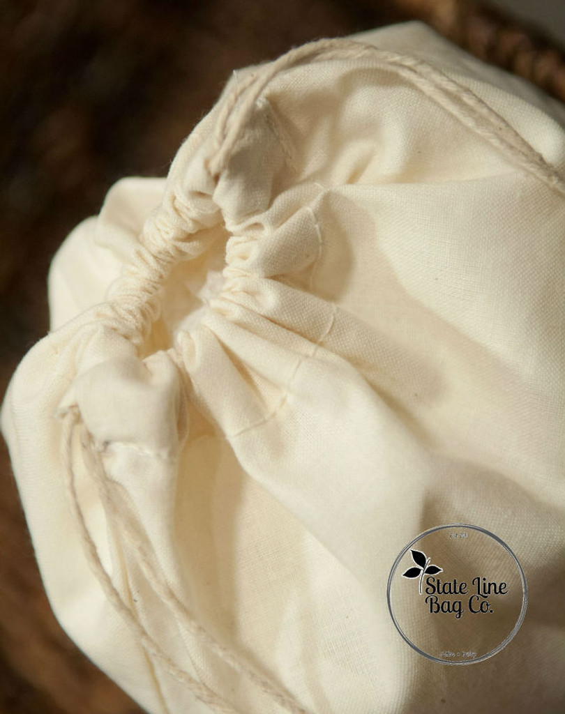 "Premium Double-Drawstring Cotton Muslin Bags 16"" x 20"""