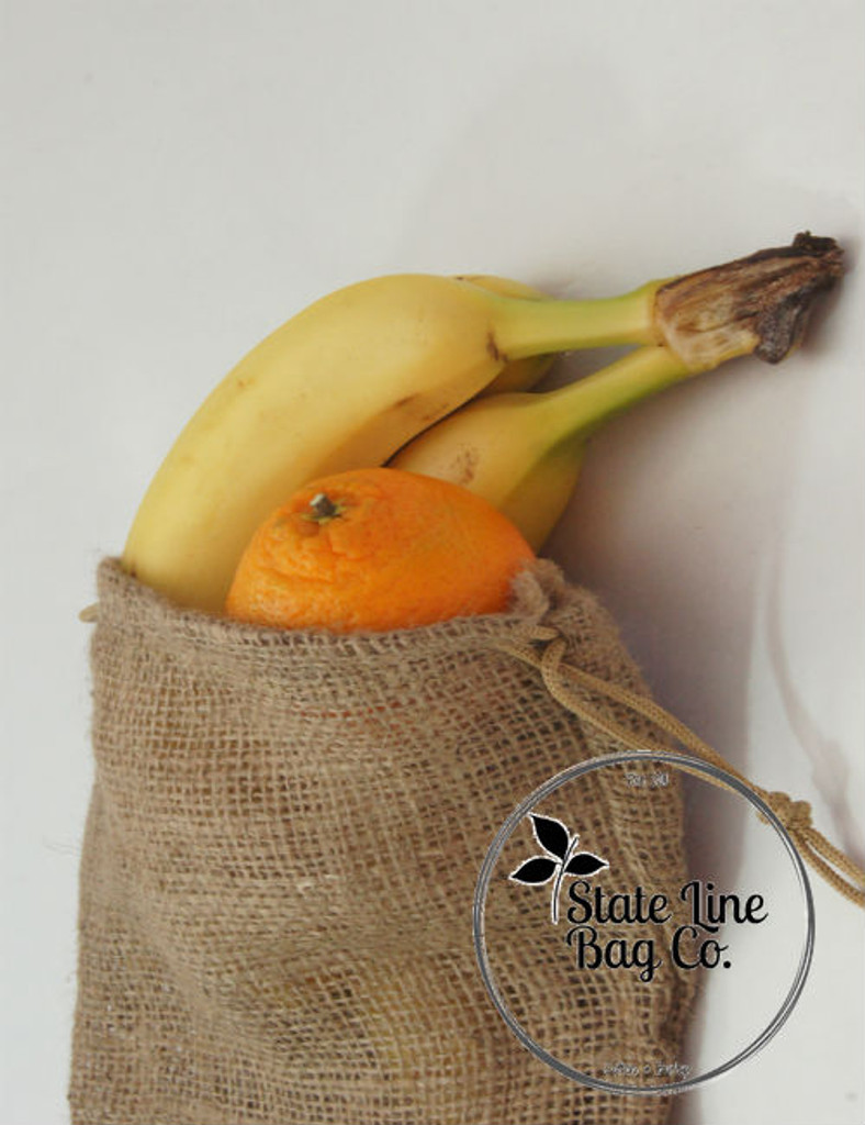 "6"" x 8"" Burlap Bag Double - Drawstring Natural Bags"