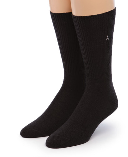 Baby Alpaca Dress Socks Front Black