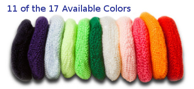 Learn more about the Available Colors of the Hearing Aid Sweat Band - 17 Colors Available (11 are shown in this photo)