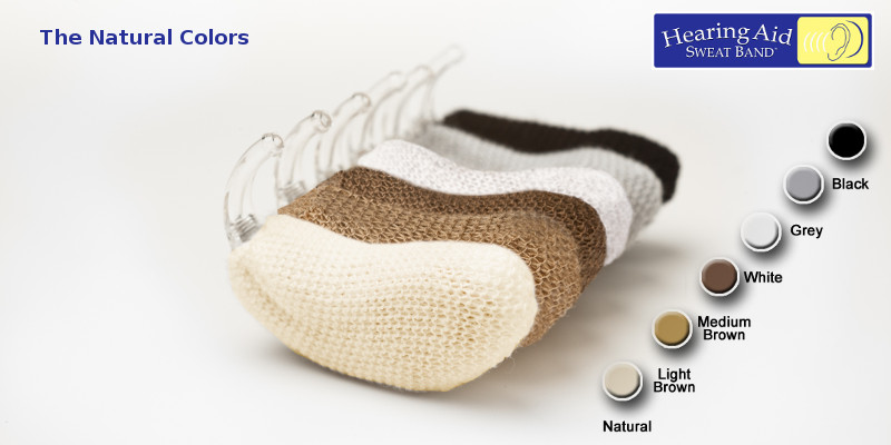 Hearing Aid Sweat Band - The Natural Colors - 17 Colors Available (6 colors shown here)