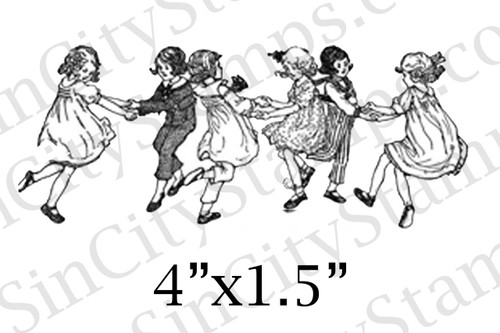 Children playing line art style rubber stamp