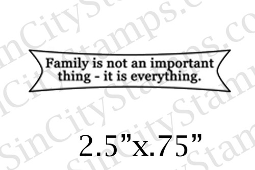 Family is not an important thing...word art rubber stamp