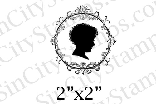boy silhouette art rubber stamp