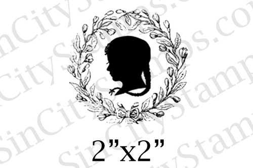 girl profile silhouette art rubber stamp