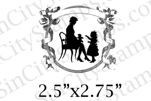 mother mom child silhouette fancy frame art rubber stamp