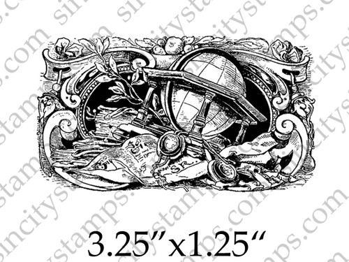 Globe Fancy Border Rubber Stamp