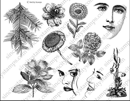 Natural Beauty Art Rubber Stamp Set Sheet by Terri Sproul SC33