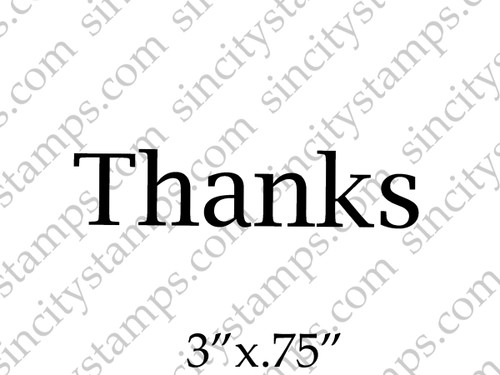 Thanks Single Word Art Rubber Stamp by Pam Bray Designs
