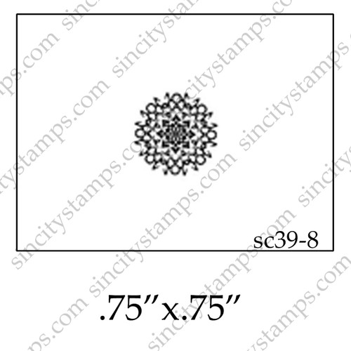 Small Round Starburst Pattern Rubber Stamp SC39-8