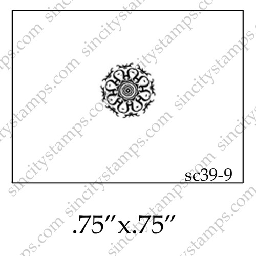 Small Fancy Mandala Pattern Shape Rubber Stamp SC39-9