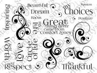 Art Journal III Sentiments Swirls & Curves Art Rubber Stamp Sheet SC71