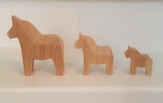 Vintage - Dala Horses in Natural Wood