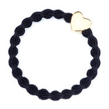 byEloise - Black Hair Tie with Gold Heart