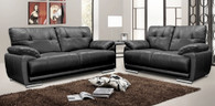 Columbia 3 and 2 Seater Black Leather Sofas