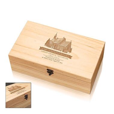 Coffret Deluxe en bois avec fermoir pour 2 bouteille de vin #2516