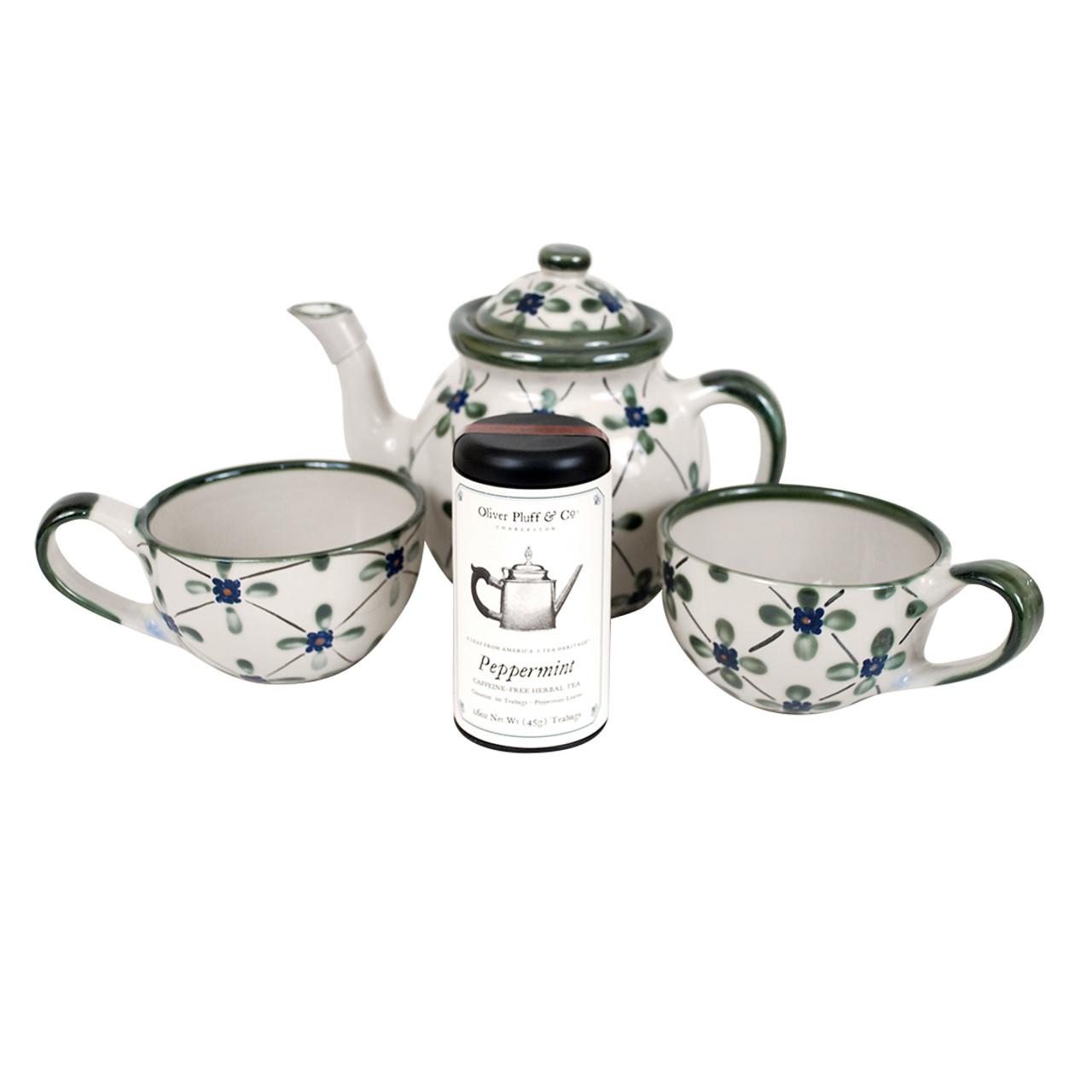 Teapot Gift Set | French Country Teapot Gift Set | Stoneware