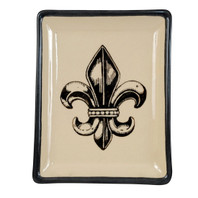 Transparent Fleur de Lis, Small Square Tray #3