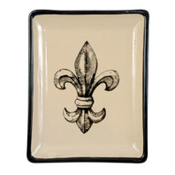 Transparent Fleur de Lis, Small Square Tray #4