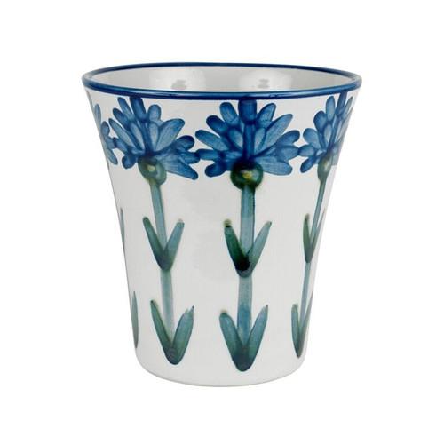 """6 1/2"""" Flower Pot & Saucer in Bachelor Button"""