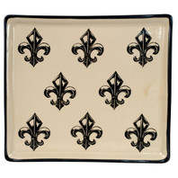 "14""  Square Tray in Transparent Fleur de Lis"
