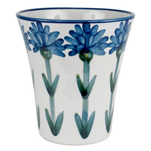 """8 1/2"""" Flower Pot & Saucer in Bachelor Button"""