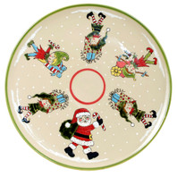 "16"" Round Platter in Santa's Elves"