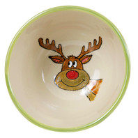 16 oz Bowl with Green Reindeer