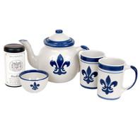 Blue Fleur-de-Lis Teapot Gift Set