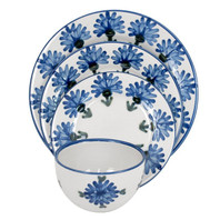 4-PIECE RIMMED PLACE SETTING IN BACHELOR BUTTON