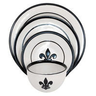 Fleur de Lis Dinnerware Set in Black