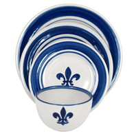 4-Piece Place Setting in Blue Fleur De Lis