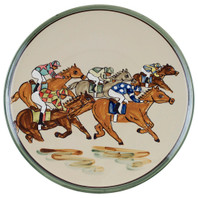 "16"" Round Platter with Racing Horses"