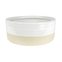"7"" Rimmed Pet Bowl in White from The Louisville Pottery Collection"