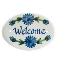 "8"" Oval Door Plaque in Bachelor Button"