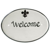 "8"" Oval Door Plaque in Black Fleur de Lis"