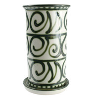 "10.5"" Wine Cooler & Saucer in Graffiti Green-Spiral"