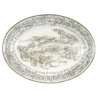 "19"" Embossed Steeplechase Oval Platter"
