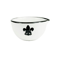 4 oz Spouted Nesting Bowl in Black Fleur De Lis