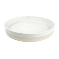 "16"" Tray Stamped & Embossed in Center in White - Louisville Pottery Collection"