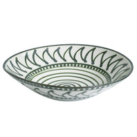 "15"" Flared Bowl in Graffiti Green, Stoneware"