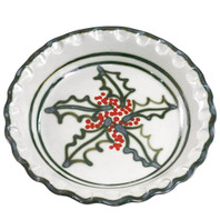 "11"" Pinched Pie Plate in Holly Graffiti"