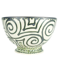 Champagne Bowl made from Stoneware painted in Graffiti Green