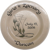 """Personalized 11"""" Champagne Glasses Rimmed Plate"""