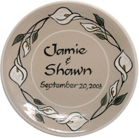 "Personalized 11"" Thin Plate with Calla Lilies"