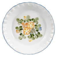 Pinched Rim Pie Plate in Country Flower Blue