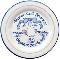 "9"" Rimmed Birth Plate Personalized with Baby Blue Blanket"