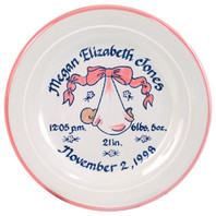 "9"" Rimmed Birth Plate Personalized with Baby Pink Blanket"
